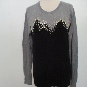 Women's Dressy Sweater Grey Black SMALL W/Beads